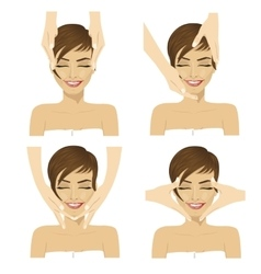 young woman in spa salon getting facial massage vector image