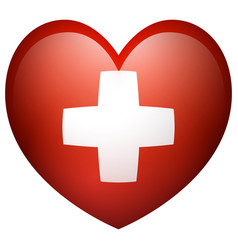 flag of switzerland in heart shape vector image vector image