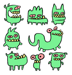 funny green monsters vector image