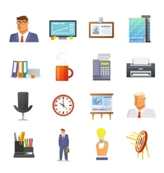Office Icons Flat Set vector image
