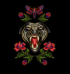 panther butterfly and flowers embroidery patch vector image vector image