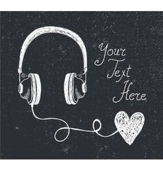 retro hand drawn doodle headphones vector image