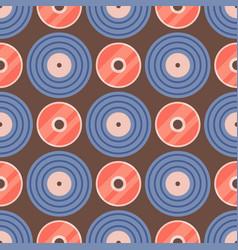 seamless pattern retro vinyl musical record audio vector image