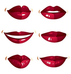Set of sexy female red lips expressing different vector image vector image