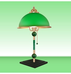 Table lamp bronze glass green vector