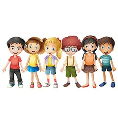 Boys and girls standing in group vector image vector image