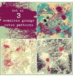 Set of three seamless grunge patterns vector image