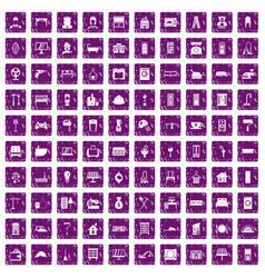 100 comfortable house icons set grunge purple vector image