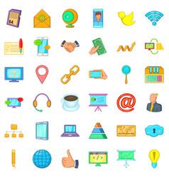 Big company icons set cartoon style vector