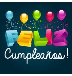 Happy Birthday in Spanish vector image vector image