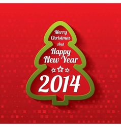 Merry Christmas tree greeting card 2014 vector image
