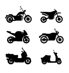 motorcycles and scooters black silhouettes vector image vector image