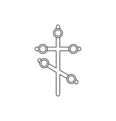 Religion cross icon outline style vector image
