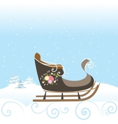 Winter Sled Flowers Vintage Snow Snowflake vector image vector image