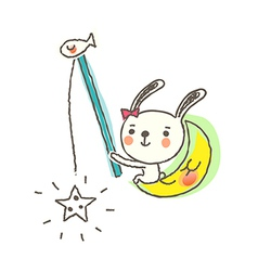 A rabbit is fishing vector