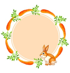 A round template with a rabbit and carrots vector image