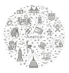 American culture icons culture signs of the usa vector
