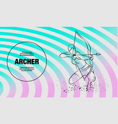 archer girl with bow outline sport vector image