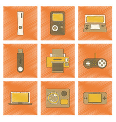 Assembly flat shading style icon technology game vector