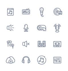 audio music line icons set vector image