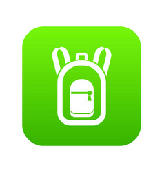 Backpack icon digital green vector