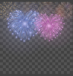 beautiful heart-fireworks background card bright vector image