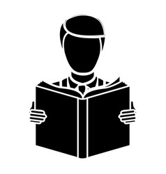 black man to read a book icon vector image