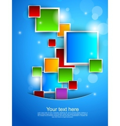 Blue background with colorful squares vector