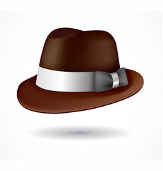 Brown fedora hat isolated on white vector