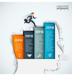 Businessman head thinking step vector image