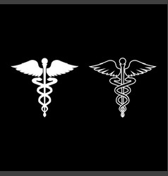 caduceus health symbol asclepiuss wand icon set vector image