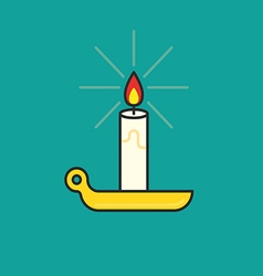Candle burning thin line icon vector
