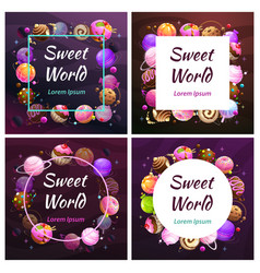 Candy planet frames sweet world banners sweets vector