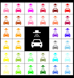car wash sign felt-pen 33 colorful icons vector image