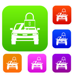 car with padlock set collection vector image