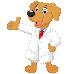Carton doctor dog posing vector