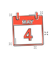 cartoon may 4 calendar icon in comic style vector image