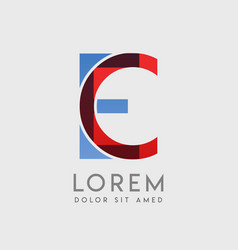 Ce logo letters with blue and red gradation vector