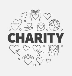 charity and donation circular line vector image