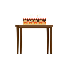 chocolate cake with candles on table flat vector image