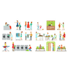 clients visiting veterinary clinic and laundry vector image