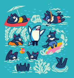 Collection tasmanian devil characters in the vector