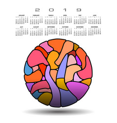 colorful 2019 calendar with abstract circle vector image
