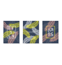 colorful abstract poster set palm background vector image