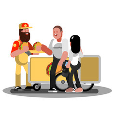 couple buys fast food in trolley vector image