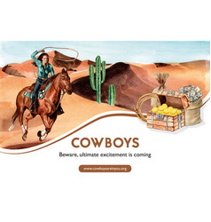 Cowboy frame design with woman horse cactus chest vector