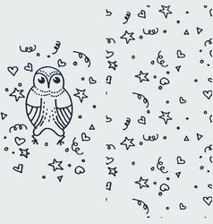 Cute doodle owl hand drawn vector