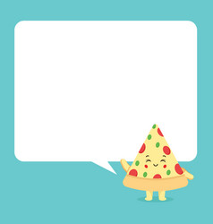 Cute pizza with speech bubbles vector