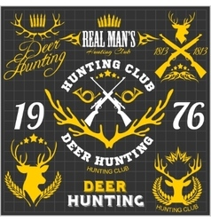 Deer hunting Set of badges labels logo design vector