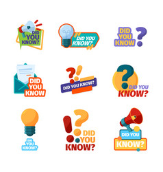 did you know promotional badges with talking vector image